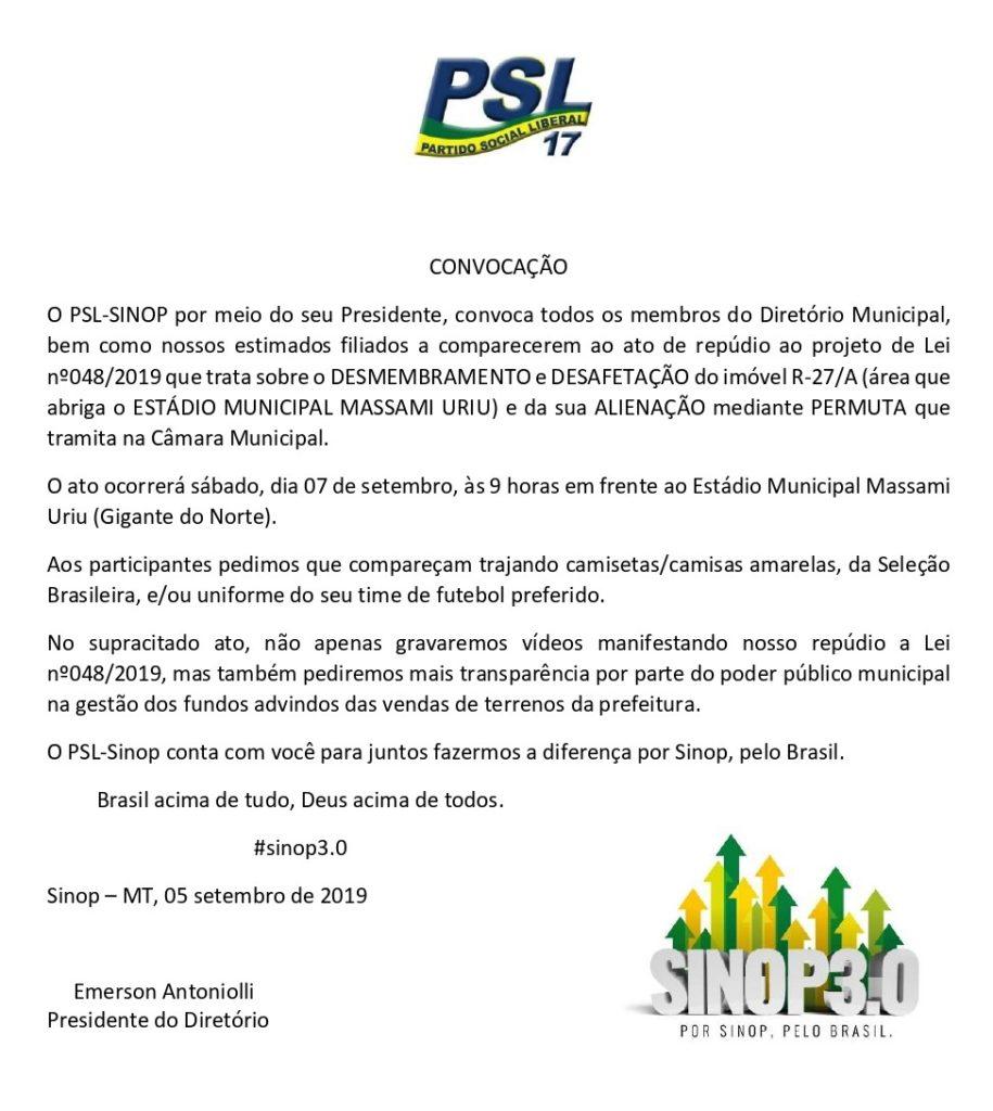 No feriado, PSL-Sinop fará ato de repúdio contra venda do estádio 2