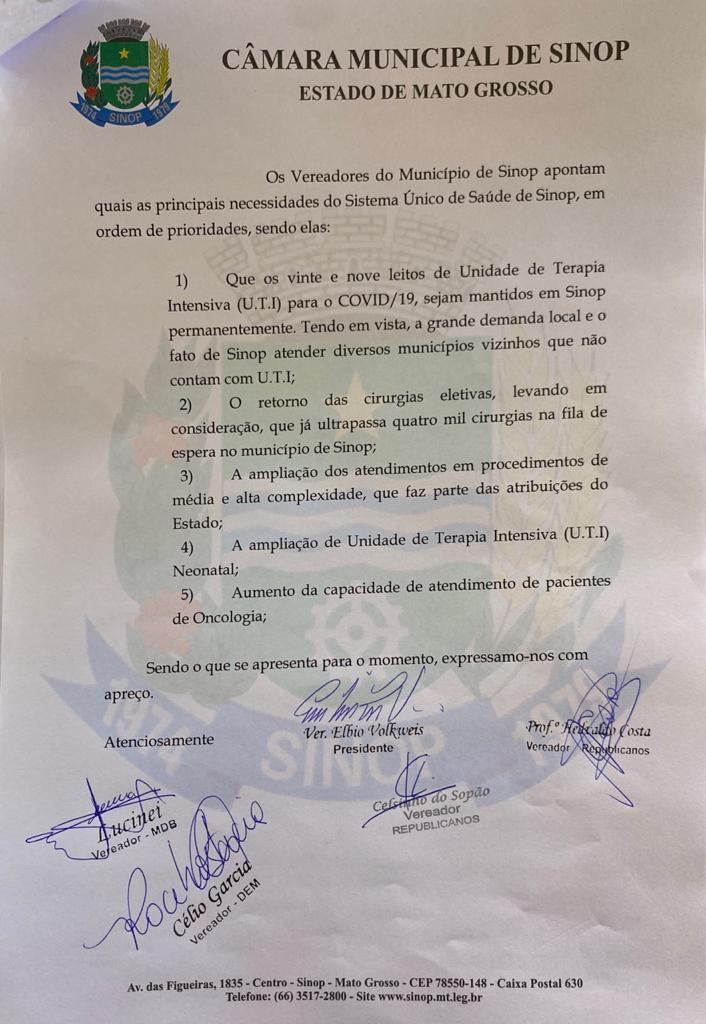 Vereadores solicitam a Mendes permanência de leitos e retorno de cirurgias eletivas em Sinop 4